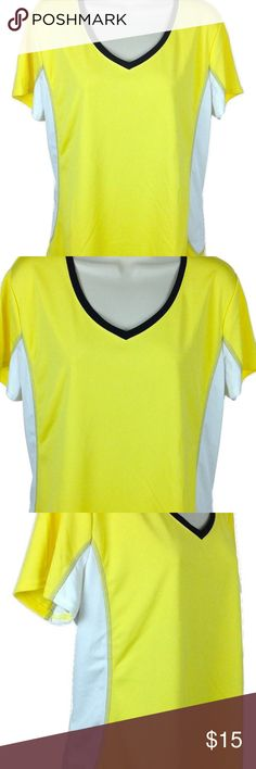 """NWOT Made For Life Women's Active Top Made For Life women's activewear fitness top. New without tags.  Product Features: Short sleeves, almost like cap sleeves Solid yellow with white trim on the sides and black trim on the collar Lightweight  100% polyester Plus sz 1X Measurements (lying flat - across the front):  Chest - 23"""" Length -  25"""" _______  * Comes from a clean, smoke-free, pet-free environment. * Color variations may occur due to the flash of my camera, and/or lighting. Made For…"""