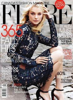 Industry icon and Cover Girl Jessica Stam covers Flare Magazine September 2011 Issue. Fashion Magazine Cover, Fashion Cover, Magazine Covers, Jessica Stam, Lace Dress, Dress Up, Dress To Impress, Editorial Fashion, Outfit