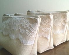 Set of 8 White Bridesmaid Gifts Lace Clutches Bridal by SayYouDo