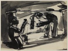 Josef Herman 'Sketch of miners with lamp, underground', date not known © The estate of Josef Herman