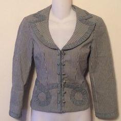 Nanette Lepore green stripe blazer 20 1/2 inches long. Cotton viscose polyester elastane acetate. Tag reads size 2. Original retail at $498. Nanette Lepore Jackets & Coats Blazers