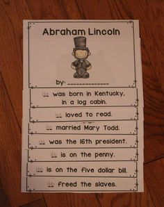 This is a good activity for the students to learn facts about Lincoln. Abraham Lincoln Facts, Abraham Lincoln For Kids, Abraham Lincoln Birthday, Kindergarten Social Studies, Kindergarten Projects, School Projects, Birthday Activities, Facts For Kids, Study History
