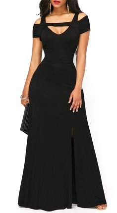 Black Short Sleeve Side Slit Cold Shoulder Party Clue Maxi Dress, elegant dress, free shipping worldwide, don't miss.
