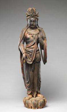 美國大都會藝術博物館 十三世紀  金代  彩繪木雕大勢至像