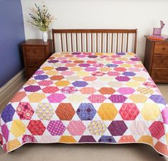 Colorful Hexagon Quilt Kit by Amy Gibson | Craftsy