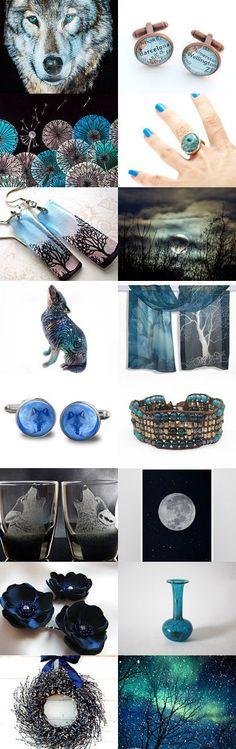 Night of blue wolf by Dorota Kościelniak on Etsy--Pinned with TreasuryPin.com