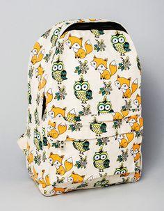Фото - Рюкзак молодежный тканевый с принтом сов и лисиц. Код товара: 216899