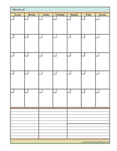free blank monthly calendar template with goals