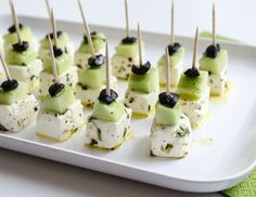 Feta-cheese with cucumber and olives