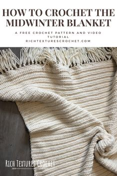 Crochet Afghans The clean lines and subtle texture give this throw blanket a modern look. It's so warm and cozy! - Welcome to Rich Textures Crochet! This free crochet pattern for the Midwinter Blanket is sure to make the coldest winter nights more cozy! Crochet Afghans, Crochet Throw Pattern, Afghan Crochet Patterns, Crochet Stitches, Knit Crochet, Blanket Crochet, Modern Crochet Patterns, Baby Afghans, Chunky Crochet Blankets