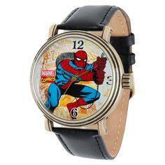 Men's Marvel Spider-Man Vintage Antique Alloy Case Watch - Black/Gold