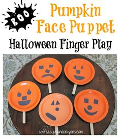 Pumpkin Face Finger Play and Puppet for Halloween. staple two plates back to back with a stem and greenery coming out of the top . add face to one side and scripture on the other side--Angie