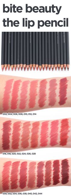 Bite Beauty The Lip Pencil swatches Old school love ❤️ it Makeup Swatches, Makeup Dupes, Makeup Brands, Makeup Cosmetics, Makeup Products, Beauty Products, Bite Lipstick, Bite Beauty Lipstick Swatches, Lipsticks