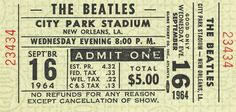 Beatles ticket from September 16, 1964 show in New Orleans.