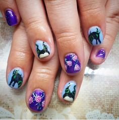 """Flowers are fun. But if you're looking for a harmless touch of malevolence, this wickedly pretty """"Sleeping Beauty"""" manicure design (look at those horns!) is perfect."""