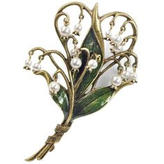 Sweet Romance Lily of the Valley Art Nouveau Pearl Flower Pin Brooch (3.795 RUB) ❤ liked on Polyvore featuring jewelry, brooches, white, green brooch, flower jewellery, leaf jewelry, engraved jewelry and flower pin brooch