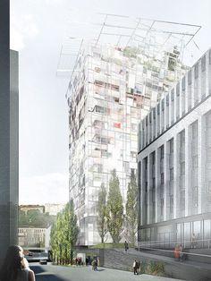 Jean Nouvel Tour Ycone - Lyon Co-promotion : Cardinal/Vinci Immobilier Architectes : Jean Nouvel Surface : 7 200 m2 80 appartements Coût des appartements : environ 6.000 euros/m2