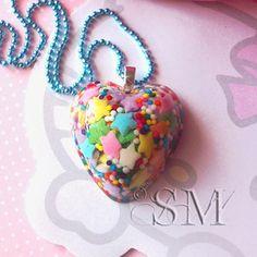 Image of CANDY SPRINKLES - heart, resin necklace, sweet, rainbow, kawaii, cupcake, sweet