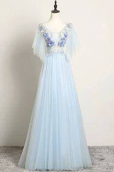 Lavender Tulle Long Sleeve Beaded Formal Prom Dress With Lace Applique Formal Dresses With Sleeves, Prom Dresses Blue, Homecoming Dresses, Evening Dresses, Flower Girl Dresses, Homecoming Ideas, Bride Dresses, Wedding Dresses, Formal Prom