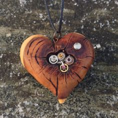 Steampunk Heart - wooden heart necklace, clockwork heart, steampunk heart pendant, pyrography pendant, wood burned necklace, wood jewelry by IonaWoodArt on Etsy