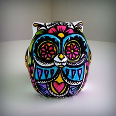 Ceramic Owl Decor Painted Day of the Dead Tattoo Flowers Hearts Folk Sculpture  Black White Pink Green Yellow Blue by sewZinski. $55.00, via Etsy.