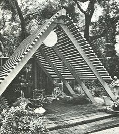 Love the A Frame!  Vintage Mid Century Modern Garden Patio Design Build Book 1969  - grow climbers up and over in a corner of the garden