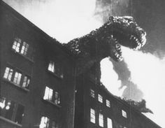 Godzilla (1954) Godzilla's attack recalls the same kind of horrors the Japanese experienced near the end of World War II, with the atomic bombings of Hiroshima and Nagasaki.  http://scififilmfiesta.blogspot.com.au/2013/12/godzilla-1954.html
