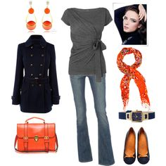 Navy and gray with ORANGE accents. The pieces are all reasonably priced too!