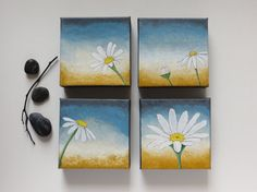 Acrylic paintings, daisy painting, set of 4, original paintings, fine art, canvas paintings,  Hello... on Etsy, $75.00