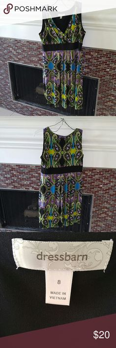 "🐣EASTER SPECIAL🐣 Black & Purple Dress Beautiful sleeveless black and &Purple Dress Barn dress. Would be perfect as your Easter dress. 34"" long.  OFFERS WELCOME! Dress Barn Dresses"