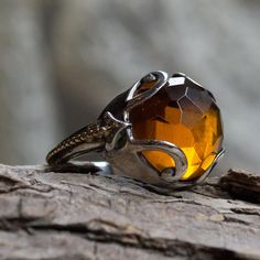 Silver Gold Ring, Gemstone ring, yellow citrine ring, boho ring, bohemian ring…