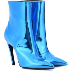Balenciaga Slash Heel Leather Ankle Boots (49.610 RUB) ❤ liked on Polyvore featuring shoes, boots, ankle booties, blue, blue leather boots, blue ankle boots, blue boots, blue booties and ankle boots