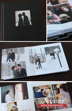 Wedding photo album/leather cover wedding album with cut-out window. Prices start at $350. www.albumsremembered.com