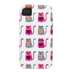 Cute Fat Kitty Cats Pink Melon Blue Unique Gifts Case-Mate iPhone 4 Cases SOLD on Zazzle