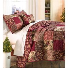 Cranberry Floral Patchwork Quilt Set, In Queen Size - Plow & Hearth Bedroom Decor, Decor, Beautiful Bedrooms, Luxury Bedding, Hearth, Bed, Bedding Sets, Home Decor, Country Bedding