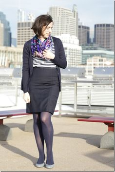 Striped shirt with floral scarf, Chicago, wear to work