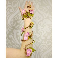 Flower Wrap Cuff, Flower Arm Band, Pink and Gold Fairy Flower Cuff,... ($42) ❤ liked on Polyvore featuring jewelry, bracelets, boho chic jewelry, cuff bangle, gold bangles, gold cuff bangle and flower jewelry