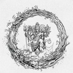 "Facets of Lord Shiva illustration with Earth, Fire, Wind and Water. ""Facets of Lord Shiva"" is published by Design Pickings. Arte Shiva, Shiva Art, Shiva Shakti, Hindu Art, Ganesha Art, Lord Shiva Hd Wallpaper, Lord Shiva Sketch, Shiva Tattoo Design, Lord Mahadev"