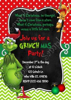 Grinch Christmas Party Invitation Free Grinchmas card - Invitatioin Card - Ideas of Invitatioin Card - Grinch Christmas Party Invitation Free Grinchmas card Grinch Christmas Party, Grinch Party, Office Christmas Party, Christmas Party Themes, Christmas Party Invitations, Xmas Party, Family Christmas, Christmas Holidays, Christmas Recipes
