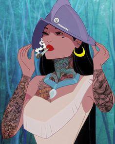 New Twisted Disney Art Pocahontas Ideas Princess Pocahontas, Disney Princess Drawings, Disney Drawings, Drawing Disney, Princess Tattoo, Disney Cartoons, Disney Memes, Stoner Girl, Disney Worlds