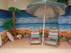 SonTreasure Island VBS Room Decorations #beach #vbs #sontreasureisland. Backdrops from dollar tree.. Palm trees are pool noodles  paper sacks  leaves r clothes hangers and plastic table cloth.