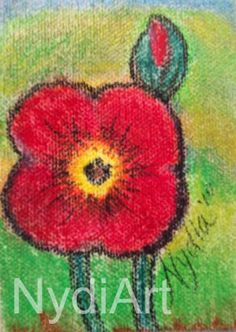 """ND-089-60, """"Nydia Dominguez"""", """"Poppy & Child - ACEO"""", $10USD, """"flower art"""""""