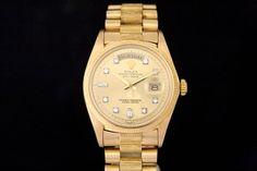 Rolex Day-Date *Single-Quick* in 18k Gelbgold (ca. 1975)  Borke Band, Champagner Zifferblatt mit Diamantbesatz, Borke Lünette    Referenz: 1807   4,2 Mio-Serie   Ø 36 mm  http://www.juwelier-leopold.de/uhren/rolex/day_date.html