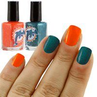 This is for you Meeker and Michele Matheny!  Miami Dolphins Aqua-Coral 2-Pack Nail Polish!