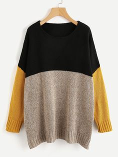 Store Colour Block Marled Knit Jumper on-line. SheIn gives Colour Block Marled Knit Jumper & extra to suit your trendy wants. Yellow Sweater, Color Block Sweater, Marled Sweater, Pullover Sweaters, Knit Sweaters, Casual Sweaters, Sweaters For Women, Oversized Sweaters, Shein Pull