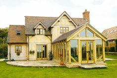 If you want to gain extra living space in your home, then a well-executed oak frame extension is the perfect characterful addition Porch Extension, Rear Extension, Extension Google, Extension Ideas, Oak Framed Extensions, House Extensions, Grace Home, Timber Kitchen, Roof Shapes