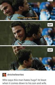 Oliver Queen Only Likes Hugs From Diggle, Thea, William, and Felicity Arrow Cw, Arrow Oliver, Team Arrow, Superhero Shows, Superhero Memes, Supergirl Dc, Supergirl And Flash, William Clayton, Arrow Memes