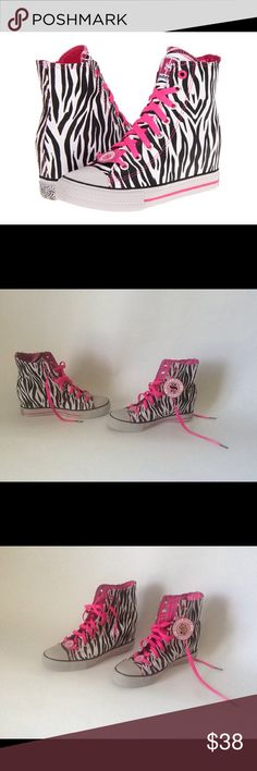 Skechers Daddy's Money Zebra Print Wedge Sneakers These shoes are New and have never been Worn!! They have a Secret Wedge that is 3 inches. They don't come with a Box!!                    **Reasonable Offers Only!!** Skechers Shoes Sneakers