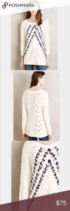 "Anthropologie ribbon sweater -NWT- size small Anthropologie pullover by Knitted and Knotted - NWT- size small.  Cotton, acrylic, rayon sweaterknit. Ribboned detail. 24""L (according to anthro website). Anthropologie Sweaters"