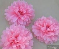 Very cute pink pom poms from tissue paper.